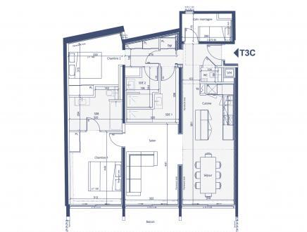 Appartement neuf de luxe à vendre COURCHEVEL, 96 m², 3 Chambres, 1195000€