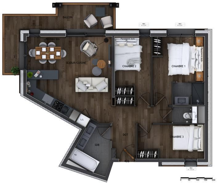 Новые апартаменты класса люкс Куршевель, 72 м², 3 Спальни, 1090000€